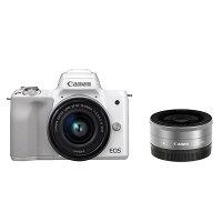 《新品》Canon(キヤノン)EOSKissMダブルレンズキットホワイト発売予定日:2018年3月23日[ミラーレス一眼カメラ|デジタル一眼カメラ|デジタルカメラ]【KK9N0D18P】