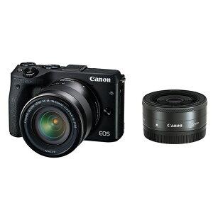 《新品》 Canon (キヤノン) EOS M3 ダブルレンズキット ブラック 【¥5,000…