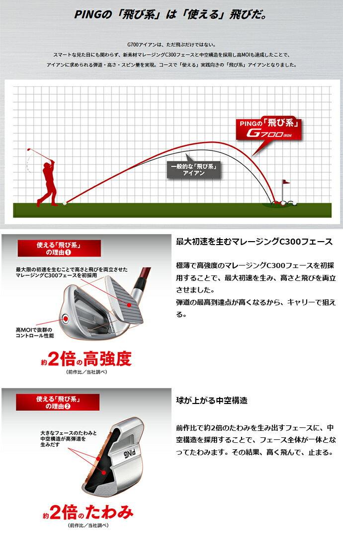 【左右選択可】 PING ピン G700 アイアン AWT 2.0 LITE 7I-PW 4本セット 日本正規品 ゴルフクラブ アイアンセット