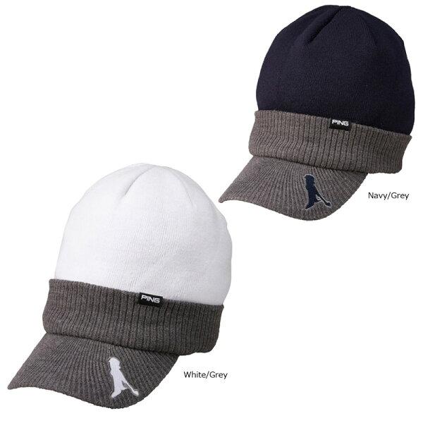 メール便 PINGピンつば付きニットキャップHW-U193日本正規品ゴルフ用品帽子メンズレディースピンゴルフ