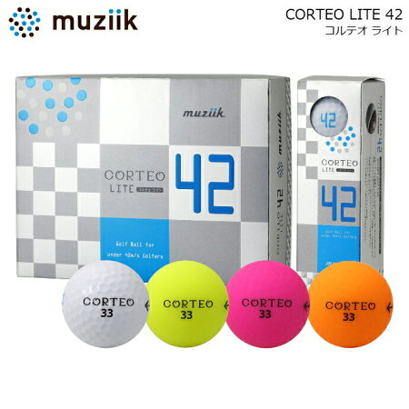 【即納】【軽量ゴルフボール】muziikムジークCORTEOLITE42コルテオライト42ゴルフボール1ダースゴルフ用42g飛ぶレディースメンズゴルフ用品