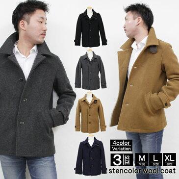 メルトン コート ジャケット メンズ ウールコート ウールステンカラーコート M L XL