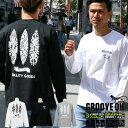 GROOVE ON ロンT メンズ 長袖 ティーシャツ TEE グルーブオン サーフ ストリート XL XXL 2XL 3L 黒 ブラック 白 ホワイト プリント 大きいサイズ ブランド 人気 アメカジ おしゃれ かっこいい /3045/ golt4603