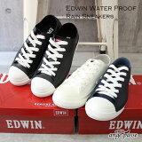 EDWIN エドウィン レインスニーカー ランキング1位♪ 防水 撥水 レインシューズ 靴 レディース レースアップ 靴紐 かっこいい 歩きやすい ブランド 正規品 幅広 3E 人気