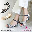 Private Label デザインヒール ラメライン ウェッジサンダル プライベートレーベル 靴