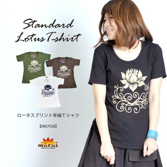 Asian new standard ☆ M @T0304 Lotus print short sleeve T shirt ethnic fashion fan Lotus pattern of the popular cool ♪ back print lotus flowers in fashionable ☆ stretching tenjiku wear • cool casual is Asian fashion is determined in this!