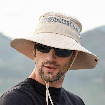 UVカット 帽子 大きいサイズ プレゼント メンズ 折り畳み サイズ調節可能 2WAY 汗止め 日焼け 速乾性 軽量 防風 あご紐付き 釣り 登山 ハイキング ゴルフ 自転車 スポーツ ハット 男の子