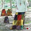 チベット模様のパッチワークロングスカート