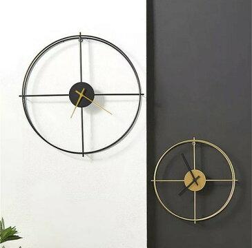 北欧 時計 ウォールクロック スタイリッシュ 海外インテリア ゴールド シンプル 無機質 ブラック モノトーンインテリア 壁の装飾