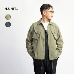 H.UNIT エイチユニット バックサテン コンバットシャツジャケット 日本製 メンズ