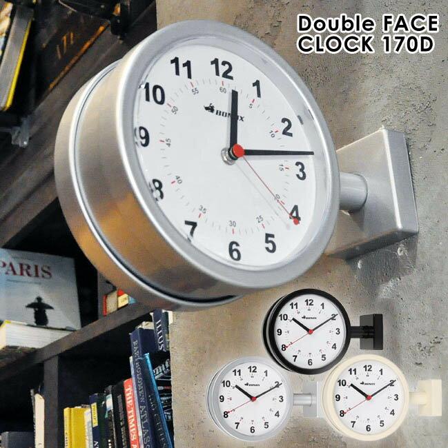 掛け時計 ダルトン DULTON 壁掛け時計 コンパクト 時計 とけい 丸時計 お洒落 かっこいい 横向き掛け時計 おしゃれ ダルトン 時計★ダブルフェイスクロック 170D(シルバー/ブラック/アイボリー)【02P03Dec16】
