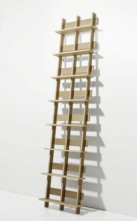 DVDラック・シェルフ型・2列タイプ・ナチュラル(DVD収納ラック・DVDシェルフラック・DVDディスプレイラック・DVD棚・大容量・大量・壁に立てかける・木製・ウッド・おしゃれ・デザイン・インテリア・送料無料)/DVD-02-W/Ladderシリーズ/マルゲリータ