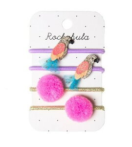 Rockahula Kids ヘアアクセサリー ヘアゴム セット 4個セット ロッカフラキッズ ぽんぽん ポンポン ヘアゴムセット 子供 キラキラ グリッター ベビー キッズ 女の子 ガールズ アクセサリー 赤ちゃん 出産祝い ギフト ベビー用品 キッズ用品 ピンク パープル 紫 鳥 おうむ