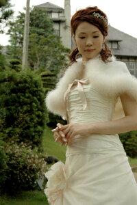 7ae9d45c6314a ... ケープ ファー(ボレロ 花嫁 ウエディング ウェディングドレス ウェディング ブライダル ウエディング ...