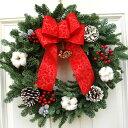 『オレゴンモミのプレシャスリース・生』55cm┃クリスマスリース 予約 リース(ギフト 玄関 飾り フレッシュ クリスマス スタンダード クリスマスリース おしゃれ フレッシュリース 生のリース オレゴンもみ ユール