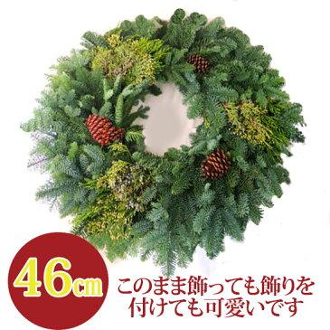 クリスマスリース 玄関 手作り[オレゴンモミのミックスリースベース] 生 46cm 予約 クリスマスリース 予約 リース(ギフト 玄関 飾り フレッシュ クリスマスリース おしゃれ 手作り 自分で作るクリスマスリース
