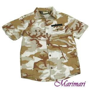 半袖メンズ襟付きの柄シャツ ジャケットにもMサイズ綿で夏快適ポケットやペン挿付きブラウン系の迷彩柄前ボタンでダンディーにカッコよく洒落たシャツ