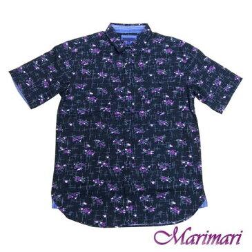 ◆半袖☆メンズ襟付きの柄シャツLサイズ【綿素材で夏は快適♪】胸ポケット付き!ブラック色紫の炎と弓矢前ボタンでダンディーにカッコよく!洒落たシャツ
