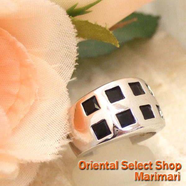 指輪 かっこいい系リングオニキス風スクエア男女共用シルバー×黒サイズ:11.5号