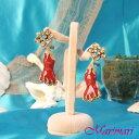 個性的でゴージャスピアスオリエンタルなお花に朱赤の珊瑚モチーフゴールド色台◆