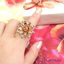 ◆フラワーコスチュームリング指輪 リング ピエロのお帽子みたい2段重ねゴージャスパーティーにピンクラインストーンフリーサイズ