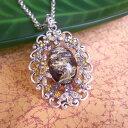 オパール調ロングネックレス琥珀風スワロのキラキラお花アンバー調2色展開