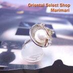 ◆ 和テイスト パールリング指輪 ホワイトパール大粒 太陽の光を浴びて流れる川のよう彫金細工風コスチュームリングサイズ:12号 17号