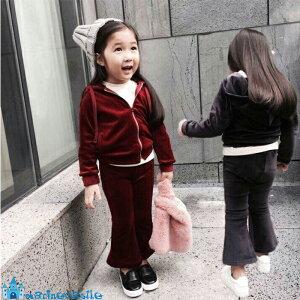 韓国子供服 秋 キッズ ベロア上下セットアップ 女の子 男の子 カジュアルセットアップ パンツセット パーカー 韓国 ファッション ナチュラル 90cm 100cm 110cm pants