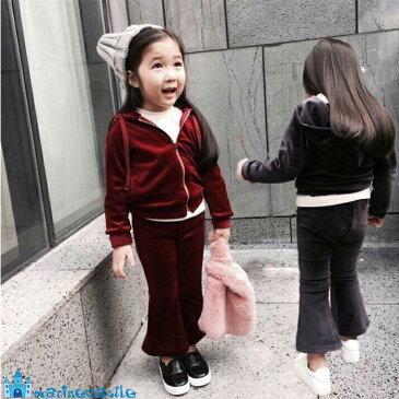 韓国子供服 秋 キッズ ベロア上下セットアップ 女の子 男の子 カジュアルセットアップ パンツセット パーカー ナチュラル 韓国 子供服 90cm 100cm 110cm