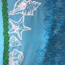 ハワイアン生地 ブルー 貝がら柄/シェル パウスカート生地 フラダンス【RCP】【コンビニ受取...