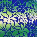 ポイント最大28倍!4/16(火)01:59まで ハワイアン生地 ブルー×グリーン プルメリア&レフア グラデーション パウスカート生地 フラダンス 3mまでゆうパケット対応