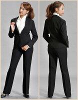 パンツスーツ【ブラックフォーマルにもOK】円高還元激安レディースパンツスーツ!就職活動フレッシュスーツ制服にいかがですか?【円高還元YDKG-kd】TP24560