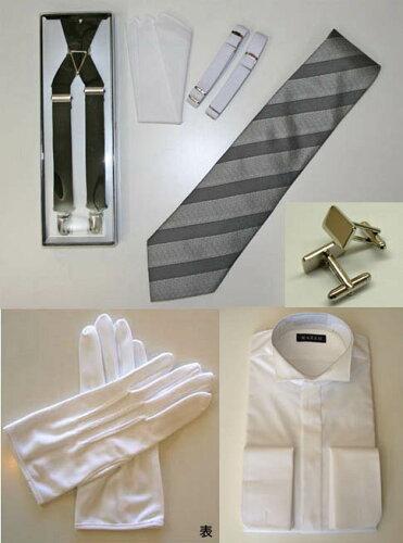 モーニング小物7点セットシャツ(白)、カフスボタン、ネクタイ(シルク)、サスペンダ...