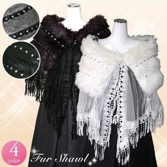 ★ ★ Cape fur! Fur poncho! Wedding Bolero! Party dresses to dress would you like? Animal print fur Cape Bolero 909