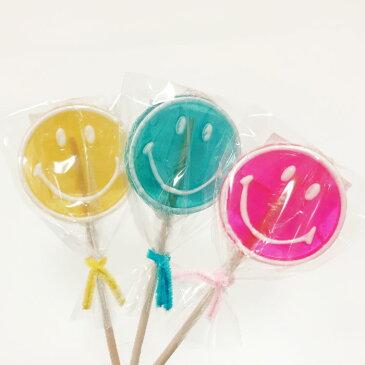 キャンディー ブーケ カラフルな スマイリー ニコちゃん ロングスティック キャンディー詰合せ (3色セット)