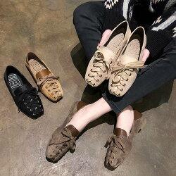 フラットシューズバレエシューズスクエアぺたんこシューズローファーパンプスサンダル靴シューズレディースローヒールペタンコパンプスリボン編み上げ春秋10代20代30代おしゃれきれいめ大人可愛い10代20代30代黒ブラウンカーキ