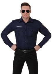 大きいサイズ 大人用 Long Sleeve ポリス 警察 Shirt ハロウィン メンズ コスプレ 衣装 男性 仮装 男性用 イベント パーティ ハロウィーン 学芸会