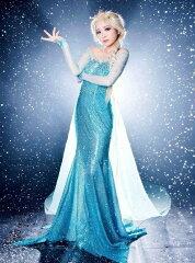 【送料無料】アナと雪の女王 ドレス エルサ コスチューム コスプレ 衣装 大人用 レディス 女性用 Disney ディズニー ハロウィン 仮装