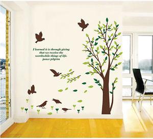 New ウォールデコ ウォールステッカー インテリア 壁 シール リムーバル ホームデコレーション Wall Art Mural デカール 木 鳥 Quote