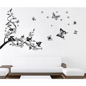Black リムーバル ウォールデコ ウォールステッカー インテリア 壁 シール Art Home デカール Mural Room DIY Stickers Paper フラワー お花s