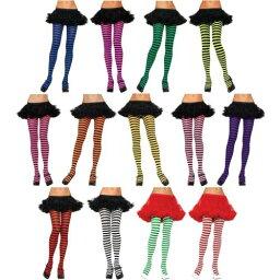 Tights レディス 女性用 大人用 Nylon Striped Pantyhose Hosiery Regular & プラスサイズ 大きいサイズ クリスマス ハロウィン コスチューム コスプレ 衣装 変装 仮装