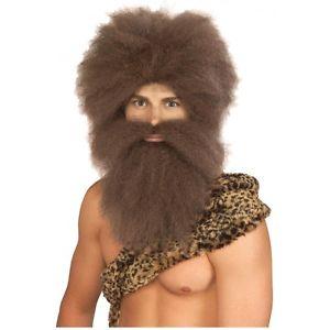 Caveman ウィッグ Set 大人用 男性用 メンズ おもしろい アクセサリー ハロウィン コスチューム コスプレ 衣装 変装 仮装
