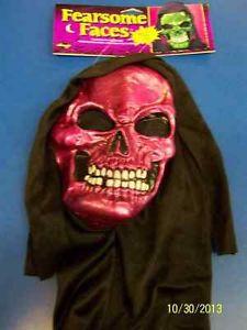 Pink Skull Face マスク w/Hood Metallic スケルトン がいこつ Death アクセサリー ハロウィン コスチューム コスプレ 衣装 変装 仮装