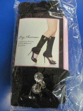 Cable Knit Leg Warmers w/Faux Rhinestone Jewels ブラック 大人用 アクセサリー ハロウィン コスチューム コスプレ 衣装 変装 仮装
