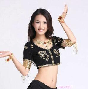 ベリーダンス 衣装 Sequins Beads ブラ トップ ベスト ブラウス 9 カラー コスチューム ダンス 衣装 発表会