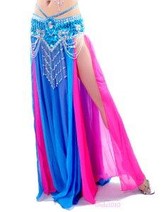 セクシー ベリーダンス 衣装 2 layers with slit シフォン スカート ドレス 13 カラー コスチューム ダンス 衣装 発表会