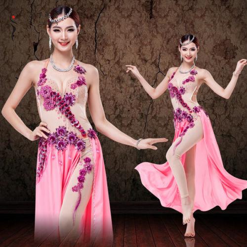プロフェッショナル ベリーダンス Performance 衣装 Gorgeous Mesh one-piece ドレス コスチューム ダンス 衣装 発表会