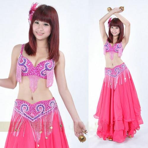 ベリーダンス 衣装 2 セット ブラ&ベルト 34B/C without スカート Dark Pink コスチューム ダンス 衣装 発表会