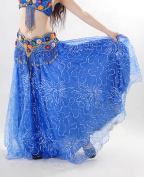 ベリーダンス 衣装 Embroidered Yarn Gauze 2 layer Swing ロング スカート 9 カラー コスチューム ダンス 衣装 発表会