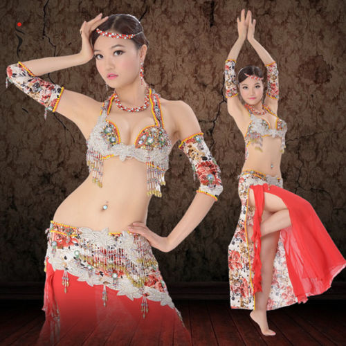 プロフェッショナル ベリーダンス 衣装 4 pcs セット ブラ+Arm Sleeves+スカート Flowery Beaded コスチューム ダンス 衣装 発表会